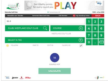 Select Course Handicap for colour course selected